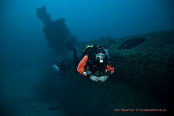 Dave Whitlow diving on the HMS Stubburn Rebreatherpro-Training