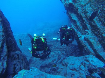 Divers at the Cathedral in Gran Canaria Rebreatherpro-Training