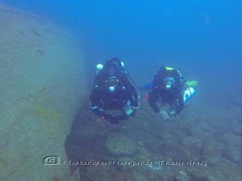 Rebreather divers on the Mogan wrecks in Gran Canaria Rebreatherpro-Training