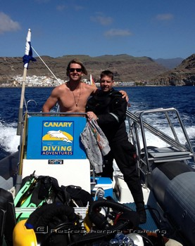 Dave and Dave diving of Canary Diving Adventures rib. Rebreatherpro-Training