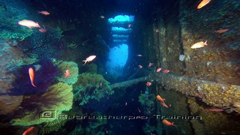 Exiting the wreck of the Loreden in Sardinia Rebreatherpro-Training