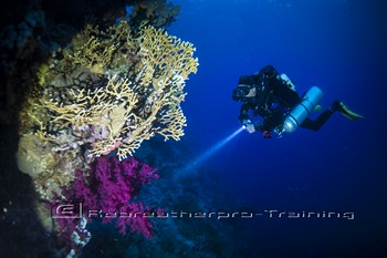 Rebreather diver in the red sea Rebreatherpro-Training