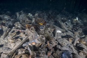 Glassware on the MV Benghazi wreck Rebreatherpro-Training