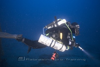 BSAC diver on the wreck of HMS Audacious Rebreatherpro-Training