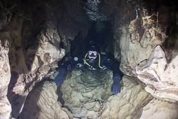 Cave diving is underwater diving in water-filled caves Rebreatherpro-Training